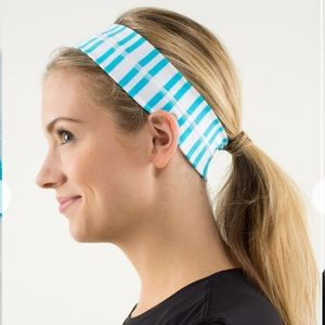 "Lululemon 2"" Fly Away Tamer Headband Twin Stripe Spry Blue and White"